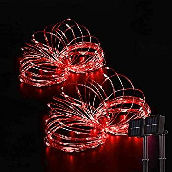 Beewin Outdoor Solar String Lights 2 Pack 33ft 100L Solar Copper Fairy Lights,8 Modes Twinkle Lights Decor for Indoor Outdoor Patio Yard Trees Christmas Wedding Party  Red