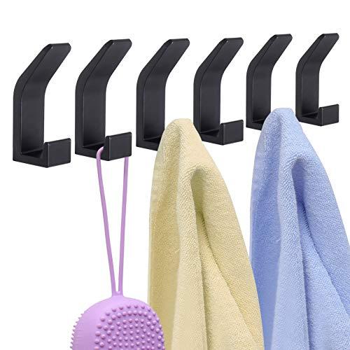 6 pezzi Gancio adesivo Gancio Adesivo Parete Gancio Cucina Gancio Parete Gancio Appendiabiti Asciugamano Acciaio Inox Bagno Cucina Nero