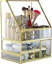 PENGKE X Large Gold Makeup Organizers,Dust Proof Cosmetic and Jewelry Storage Case with 5 Drawers,10.5 x8.1 x14.5 inch,Pack of 1