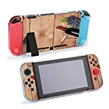 SUPNON Red Wine Bottle and Bunch of Red Grapes On Protective Case Compatible with Nintendo Switch Soft Slim Grip Cover Shell for Console & Joy-Con with Screen Protector, Thumb Grips Design35497