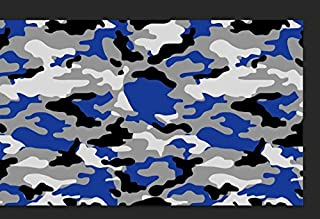 "JQSLA Blue Black White Gray Camouflage Premium Vinyl Car Wrap Decal Film Sheet Air Channel Release Technology + Free Tool Kit (240"" x 60"" / 20FT x 5FT)"