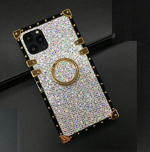"""for iPhone 11 6.1"""" Case,Luxury Box Design Bling Glitter Sparkle Cute Gold Square Corner Soft TPU Trunk Cover with 360 Degree Rotation Finger Ring Grip Kickstand Phone Skin,White"""