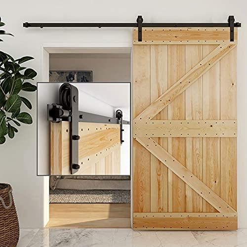WOLFBIRD 6.6FT/201CM Kit de ferretería para puerta corredera corredera ajustable, se utiliza para una sola puerta de madera, fácil de instalar, forma en J