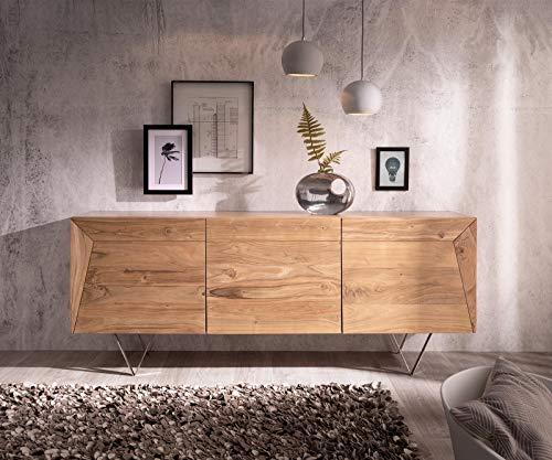 DELIFE Kommode Wyatt Akazie Natur 175 cm 3 Türen Edelstahl Designer Sideboard