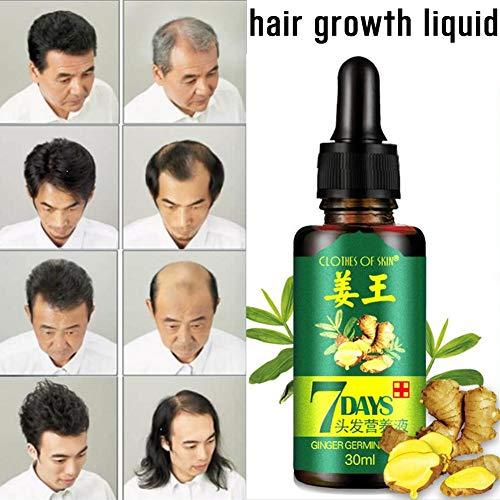 Fluide de pousse des cheveux pour femme et homme 30 ml – Gingembre soin nutritif liquide de croissance – Bon traitement pour la perte de cheveux naturelle