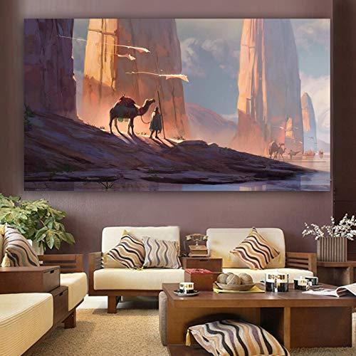 Santangtang wandafbeelding voor woestijn- en camelschilderij op canvas voor frameloze decoratie van de woonkamer.