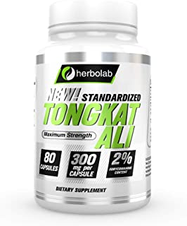 Herbolab Tongkat Ali - Better than 200:1, The Only Highly Concentrated Standardized Tongkat Ali Root Extract on Amazon, 80 Vegetal Capsules 300mg (AKA Longjack, Eurycoma Longifolia, Malaysian Ginseng)