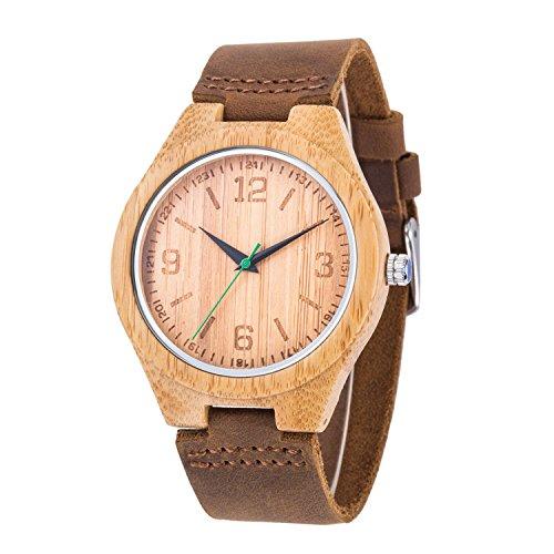 Cinturino in pelle orologio in legno naturale di bambù Face–Orologio da polso da uomo