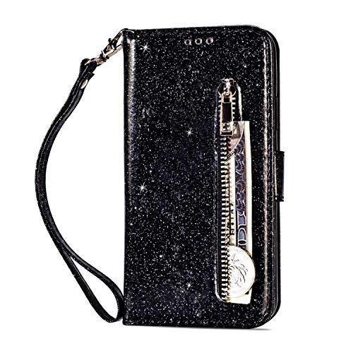 Miagon für Huawei P30 Glitzer Reißverschluss Hülle,Bling Wallet Leder Handyhülle Multifunktion Geldbörse Magnetisch Standfunktion Flip Etui Case Cover