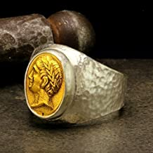 Mens Signet Coin Ring 925 Sterling Silver 24K Gold Vermeil Coin Handcrafted Hammered Two Tone Hand Forged Ancient Roman Byzantium Greek Art Ring