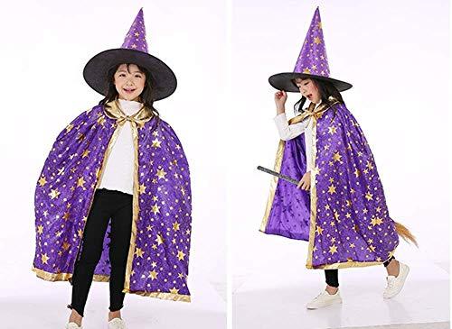 Clarashop Halloween Umhang Kinder Cosplay Cape mit Kapuze Zauberer Hexe für Kinder-Kostüm Mädchen Faschingskostüme