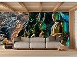 Fotomural Vinilo para Pared Budas en Cueva de Tailandia | Fotomural para Paredes | Mural | Vinilo Decorativo | Varias Medidas 200 x 150 cm | Decoración comedores, Salones, Habitaciones.