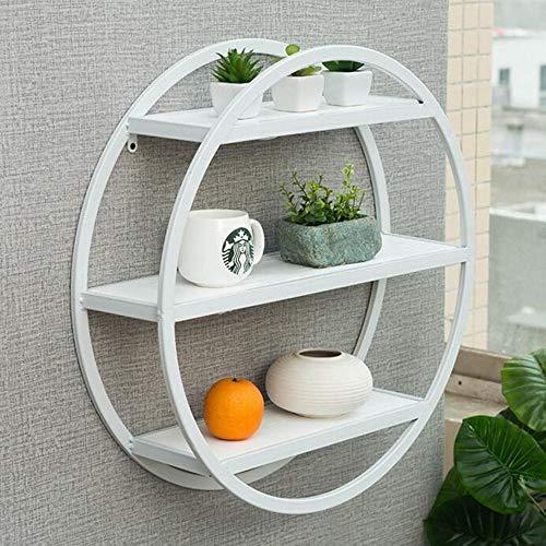 LITINGMEI Shelf Dekorative Wandlagerung Regale 3 Schichten Massivholz Runde Regale Regal Shop Dinge 60 * 16 * 60 cm Starke Stabilität (Farbe : Weiß)