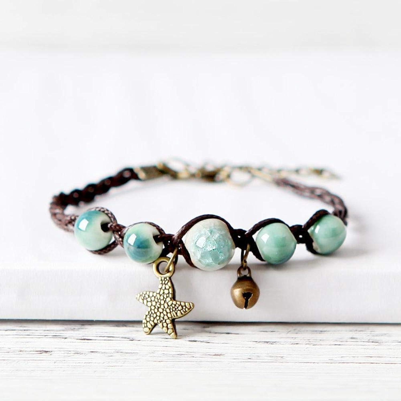 Zicue Stylish Charming Bracelet Exquisite Ornaments Vintage Art Hand woven ceramic bracelet Lady Gift ( color   D )