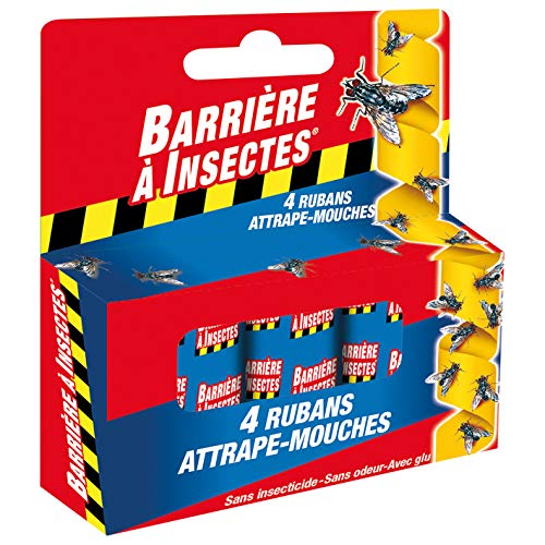 BARRIERE A INSECTES Ruban Attrape-Mouches, stop la reproduction des moustiques, 4 rouleaux, BARFLY