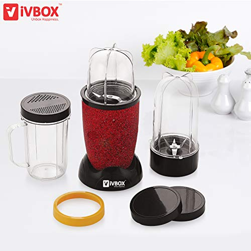 iVBOX Wonder-Pro Nutri Blender Compact Powerful Bullet Juicer Mixer Grinder for Kitchen - 3 Jars with Recipe Book, 400-Watt, Marble-Finish Red
