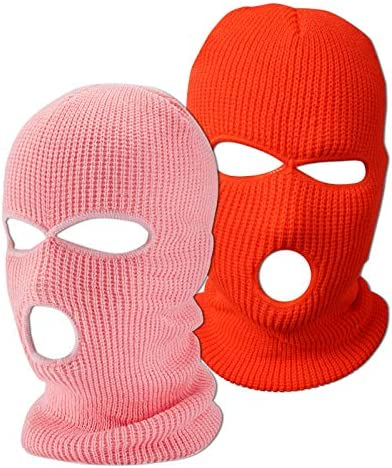 Funny Winter Knitted Cover Mask 3 Hole Outdoor Sports Ski Face Mask Knitted Warm Mask Orange product image