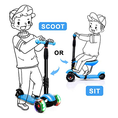 XJD 3 in 1 Scooter for Kids with Removable Seat Toddler Scooter for Boys Girls Adjustable Height PU Flashing Wheels Extra Wide Deck 3 Wheel Scooter for Children from 2 to 8 Years Old Blue