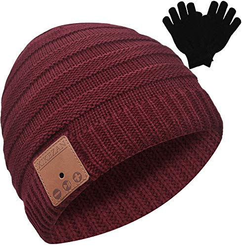 Bluetooth Beanie Novelty Headwear Christmas Stocking Stuffer Gifts for Men Women Dark Red