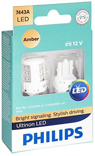 Philips 7443ALED Ultinon LED Bulb (Amber), 2 Pack