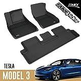 3D MAXpider L1TL00401509 All-Weather Floor Mats for Tesla Model 3 2017 2018 2019 Custom Fit Car Floor Liners, Kagu Series (1st & 2nd Row Black)