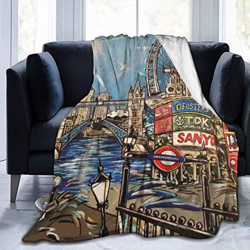Manta de Lana, paisajes de Londres, Pintura para Mujer, Unisex, Manta de Felpa, Manta de Felpa, Manta de Felpa para Acampar, Viajes, Regalos