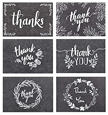 120 Thank You Cards with Brown Kraft Envelopes and Stickers - Elegant 6 Designs Kraft Paper Bulk Blank Notes for Wedding, Business, Formal, Baby Shower and All Occasions 4x6 Inch Blank on Inside/Back