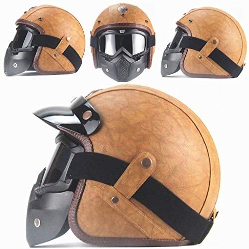 GAOZH Männer Damen 3/4 Motorrad Helme,Mopedhelm Jethelm Vintage Style Open Face Roller-Helm Retro Oldtimer Motorradhelm Leder Scooter Helm mit Brille Visier - ECE Zertifiziert(57-64cm)