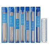 Coopay Juego de agujas de tejer cortas de doble punta, 20 cm, agujas de doble punta de 2 mm a 5 mm,juego pasadores para principiantes y pequeños proyectos, 35 unidades de agujas de metal y manómetro