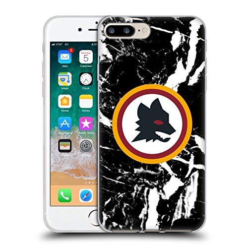 Head Case Designs Oficial AS Roma Mármol Negro 2 Gráficos de la Ciudad Carcasa de Gel de Silicona Compatible con Apple iPhone 7 Plus/iPhone 8 Plus