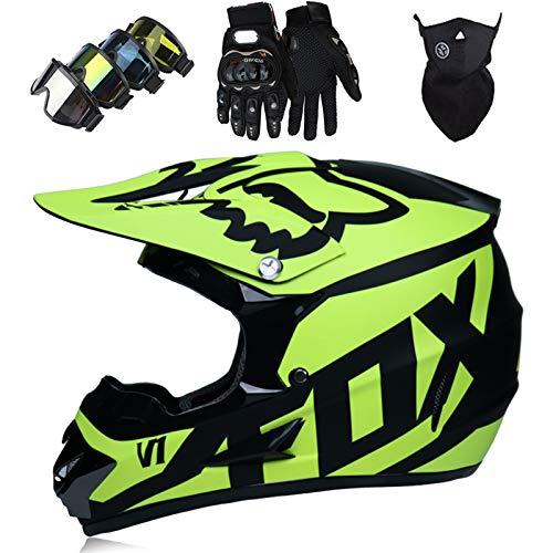 OTBKNB Cascos Integrales Infantil con Guantes Gafas Máscara, Aprobado Dot Conjunto Casco Motocross Motocicleta Adultos Casco Protector Offroad Dirt Bike con Diseño Fox, Amarillo Negro Mate