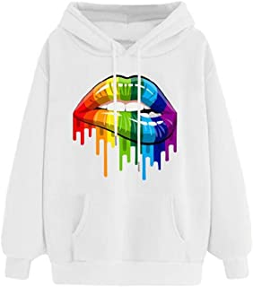 Spring and Autumn Rainbow Candy Color Plush Hoodie Long Sleeve Sweater Women's Lips Printed Loose Sweater