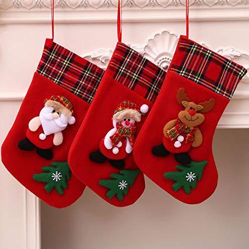 WJkuku Christmas Stockings, 3 Pack Big Xmas Stockings Snowflake Santa Snowman Reindeer Stuffed Xmas Tree 3D Plush Character Christmas Decorations Party Supplies