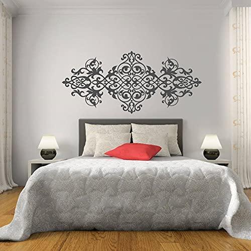 Pegatina de pared con diseño de estilo barroco, pegatinas de pared de flores, decoración de cabecera de dormitorio, vinilo, decoración del hogar, 84X184cm