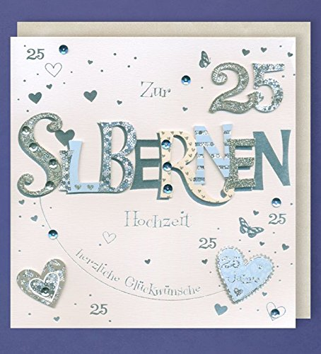 Silberhochzeit Grußkarte 25 Handmade Applikation Zwei Silber Herzen 21x21cm