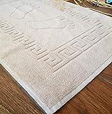 Secret Sea Collection Footprint Bath Mat Towel, Foot Towel, 100% Turkish Cotton, Washable, Reversible (20'' x 28'') (Latte)