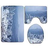 Heladas Nevadas Nevadas Invierno Bosque Ver Parques Navidad Nublado Frío Cuento de hadas Viaje Baño Alfombrilla Alfombrilla Juego de 3 piezas, antideslizante Tapa del asiento del inodoro Alfombra de b