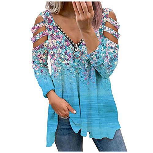 Xmiral Damen Langarm Shirt Reißverschluss V-Ausschnitt Blumendruck Bluse Slim Fit Streifen Schulterfrei Oberteil(Blau,L)