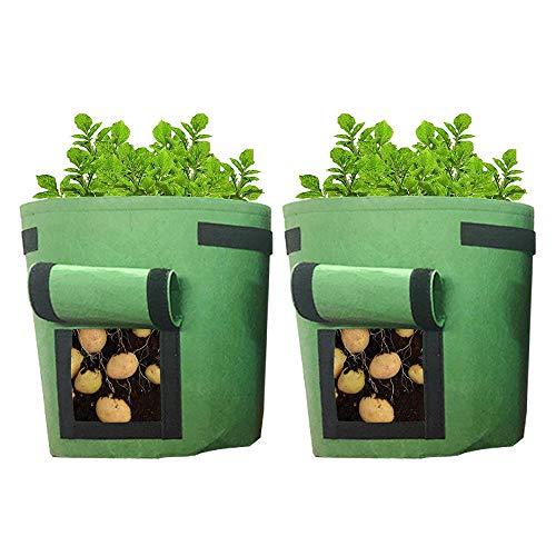 Uranbee 2er Pflanzsack Kartoffel Pflanztasche aus Vliesstoff, Premium Pflanzbeutel Kartoffelsack mit Sichtfenster Griffen Klettverschluss, Umweltfreundlich und Atmungsaktiv (7 Gallonen, Grün)