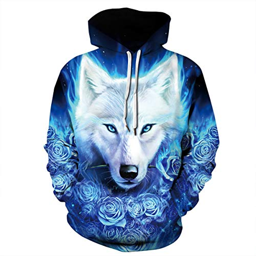 Männer Hooded Long Sleeve 3D Digital Print EIS Wolf Paar Pullover Hoodies Fashion Hoodies Baseball Outwear