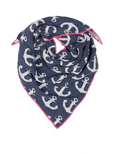 Cashmere Dreams Dreieckstuch mit Kaschmir - Hochwertiger Schal mit Ankern für Baby-s Jungen und Mädchen - XXL Hals-Tuch - Strick-Waren für Sommer und Winter Zwillingsherz (bla/pin)