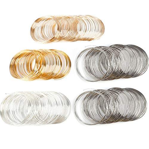 Schmuckdraht, 500 Kreise, Memory-Draht, für Armbänder, Perlen-Draht-Manschette, für Draht, DIY Basteln, Schmuck, 4 Farben