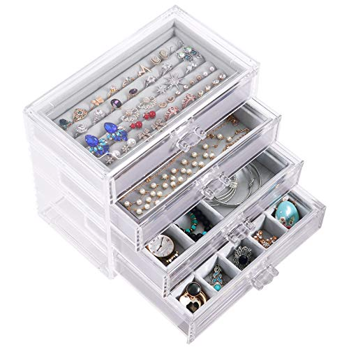 DIJA Acrylic Jewelry Box with 4 Drawers, Velvet Jewelry Organizer for Earring Bangle Bracelet Necklace Rings Clear Acrylic Jewelry Display case, Gray
