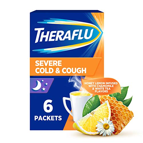 Theraflu Nighttime Severe Cold and Cough Hot Liquid Powder Infused with Chamomile and White Tea Flavors Box, Honey Lemon, 6 Count