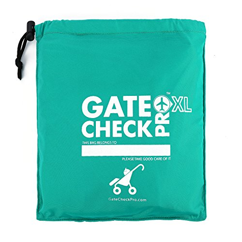 Gate Check PRO XL Double Stroller Bag for Airplane Travel | Extra Large & Ultra Durable Cover | Padded Adjustable Backpack Shoulder Straps | Easy Carrying - Green
