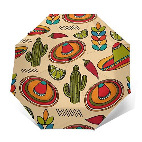 Mexiko-Symbole, Kaktus-Mütze, Regenschirm, winddicht, Reise-Regenschirm, automatisches Öffnen/Schließen, kompakter faltbarer Regenschirm Außenprint Einheitsgröße