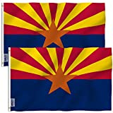 Anley Pack of 2 Fly Breeze 3x5 Foot Arizona State Polyester Flag - Vivid Color and UV Fade Resistant - Canvas Header and Double Stitched - Arizona AZ State Flags with Brass Grommets 3 X 5 Ft