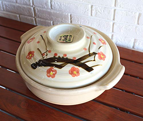 Ebros Made In Japan Traditional Cherry Blossom Sakura Japanese Family Cooking Style Donabe Stoneware Direct Flame Hot Pot Or Clay Pot Casserole With Lid Cover 90 OZ Microwave Oven Safe