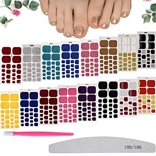 FORMIZON Unghie Piedi Adesivi Smalto, 16 Fogli Autoadesivo Nail Art Stickers, Smalto Adesivo per...