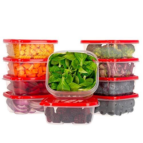 Ensemble de boîtes de Rangement Alimentaires avec couvercles Rouge - À Usage Multiple - Lot de 10 récipients x 400 ml - Alimentaires en Plastique sans BPA - Empilables - Convient pour Lave-Vaisselle